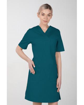 M-076F Sukienka medyczna wiązana  fartuch medyczny kolor ciemny zielony