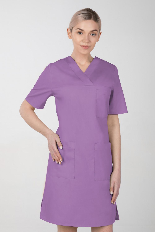 M-076F Sukienka medyczna wiązana  fartuch medyczny kolor jagoda