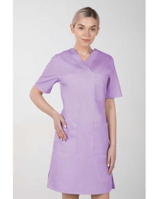 M-076F Sukienka medyczna wiązana  fartuch medyczny kolor lawenda