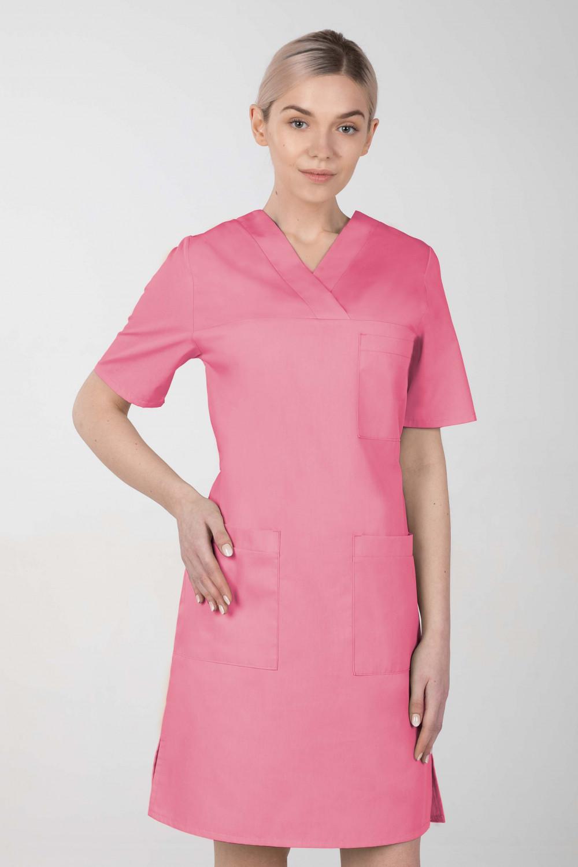 M-076F Sukienka medyczna wiązana  fartuch medyczny kolor malina