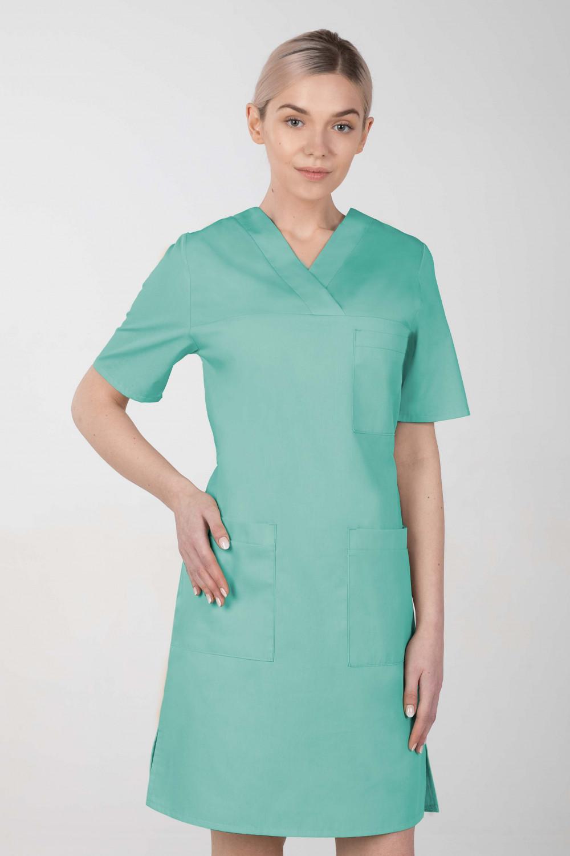 M-076F Sukienka medyczna wiązana  fartuch medyczny kolor mięta