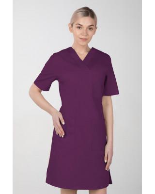 M-076F Sukienka medyczna wiązana  fartuch medyczny kolor śliwka