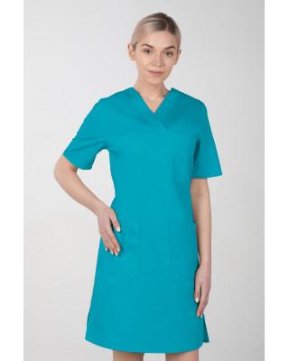 M-076F Sukienka medyczna wiązana  fartuch medyczny kolor turkus