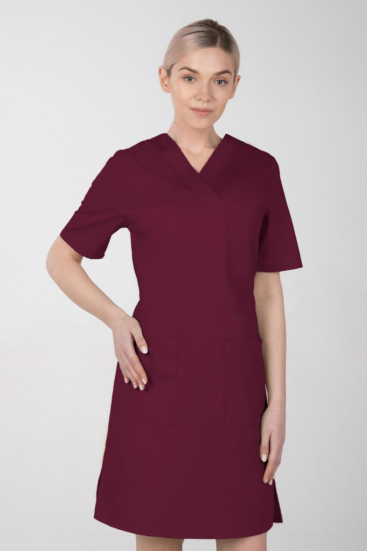 M-076F Sukienka medyczna wiązana  fartuch medyczny kolor wiśnia
