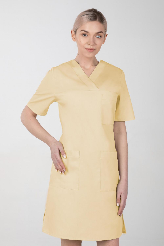 M-076F Sukienka medyczna wiązana  fartuch medyczny kolor banan