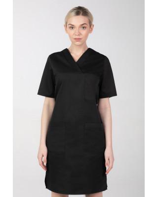 M-076F Sukienka medyczna wiązana  fartuch medyczny kolor czarny