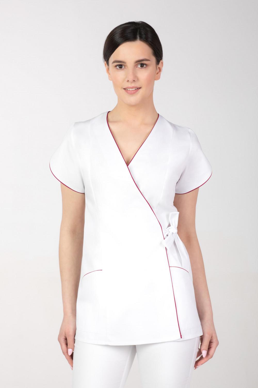 Żakiet kosmetyczny damski wiązany na boku, biały M-322
