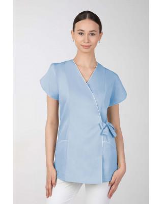 Żakiet kosmetyczny damski wiązany na boku, błękit M-322