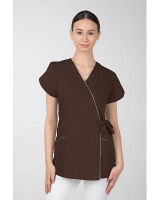 Żakiet kosmetyczny damski wiązany na boku, czekolada M-322