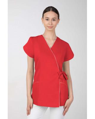 Żakiet kosmetyczny damski wiązany na boku, czerwony M-322