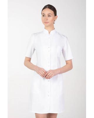 M-141TK Fartuch medyczny kosmetyczny damski krótki rękaw biały