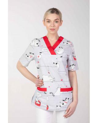 M-074G-bluza-medyczna-wzorzysta-pieski-i-kotki