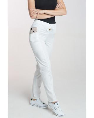 Spodnie medyczne damskie elastyczne M-200X - białe
