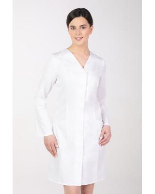 Fartuch medyczny taliowany sukienka damska M-377D kryte napy długi rękaw