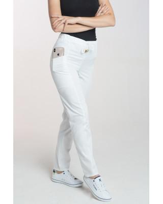Spodnie damskie medyczne antybakteryjne kosmetyczne na sznurku elastyczne M-200V biały. Odzież medyczna antybakteryjna