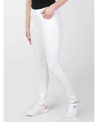 M-100X Spodnie damskie elastyczne kosmetyczne medyczne do pracy kolor biały