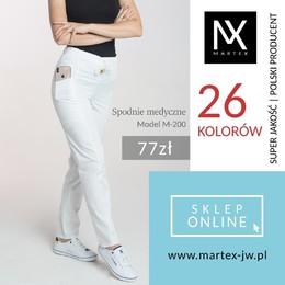 Spodnie damskie medyczne kosmetyczne na sznurku M-200 Cechy charakterystyczne: - spodnie slim - wąskie nogawki - dwie kieszenie boczne - w tylnej części pasa guma - z przodu sznurek do regulacji - tkanina: elanobawełna #martex #martexodziezzawodowa #spodniemedyczne #spodniedamskie #spodniekosmetyczne #odziezzawodowa #wygodnaodziezzawodowa #odziezdopracy #wygodnespodnie #odzieżmedyczna #modamedyczna #swietokrzyskie #świętokrzyskie #producentodziezymedycznej #martexjedrzejow #medicalpants #medicalclothing #polskiprodukt #cosmeticpants #odziezmedyczna